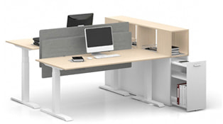 Max Height Adjustable Desk with Side Cabinet